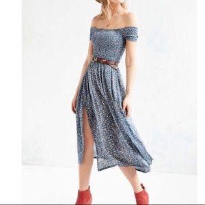Blue Floral UO Off-the-Shoulder Midi Dress